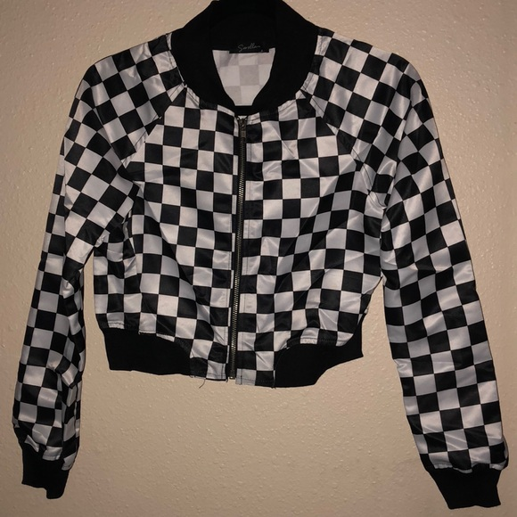 181cfc7d4 B&W checker cropped bomber jacket